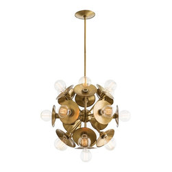 Arteriors - Keegan Small Chandelier - Antique Brass - This delightful interpretation of the ever-popular starburst motif is finished in antique brass or polished nickel with 19 lights. Please note this can be assembled with or without the reflective back plates behind the light bulbs, giving you the option of two entirely different looks. Takes nineteen 25 watt bulbs.
