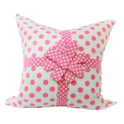 JoyWorkshoppe - Pink & creme children's bow pillow - Adorable nursery or children's bedroom pillow cover in pink & creme polka dot fabric by Riley Blake. Trimmed with ribbon and centered with a pretty bow - just like a wrapped present! Add this pillow to your child's decor for a very special touch!