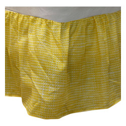Dan River - Bright Yellow Plaid Twin Bedskirt Geometric Bed Accessory - FEATURES: