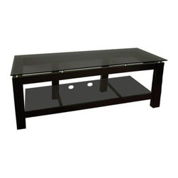 Plateau SL Series 64 Inch 2 Shelf TV Stand Black on Black - The long and narrow Plateau SL Series 64 Inch 2 Shelf TV Stand Black on Black houses your components and displays your TV in sleek, sophisticated all-black style. This basic two shelf TV stand accommodates flat panel TVs up to 56 inches and features a bottom shelf with cord management openings to organize your electronic equipment. The sparse black wood veneer frame topped by a slab of sophisticated black glass creates an open concept design with universal appeal.About Plateau CorporationPlateau Corporation utilizes the finest materials to provide you with state of the art audio and video home theater furniture systems. Entertainment centers created by Plateau Corporation are a fusion of innovative engineering and contemporary design. Their product list includes entertainment centers, media storage, TV armoires, and TV stands that are all are easy to assemble, incredibly durable, and specially made to highlight your audio/video system. Their unique entertainment centers can grow as your system grows.