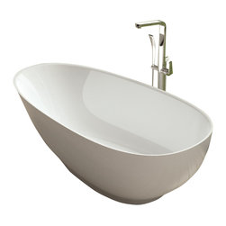 ADM - ADM White Stand Alone Solid Surface Stone Resin Bathtub, Glossy - SW-132