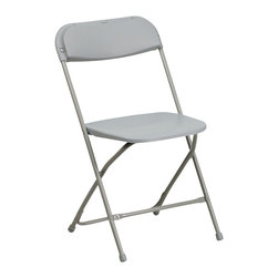 Flash Furniture - Flash Furniture Hercules Premium Gray Plastic Folding Chair - Plastic folding chairs are the choice of many event planners for their lightweight design, ease of cleaning, and versatility among events. This portable folding chair can be used for banquets, Parties, Graduations, Sporting Events, School Functions and in the Classroom. This chair will be the perfect addition in the home when in need of extra seating to accommodate guests. Constructed of lightweight textured polypropylene and a strong steel frame, these folding chairs will suit most any occasion. [BH-D0001-GY-GG]