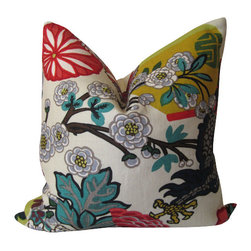 Schumacher - Chiang Mai Dragon Alabaster 20 inch Decorative Pillow Cover Schumacher - One of Schumacher's best-loved designs, Chiang Mai Dragon was originally derived from an exuberant 1920's Art Deco era block print. The pattern is table printed on a linen ground.