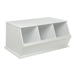 Badger Basket - Badger Basket Three Bin Storage Cubby - White - 09778 - Shop for Childrens Toy Boxes and Storage from Hayneedle.com! The Badger Basket Three Bin Storage Cubby - White is a must-have organizational tool that kids will love. This three-bin storage cubby features three generously sized bins that make it easy to load and unload almost anything. The cubbies measure 11L x 17.5W x 15.6H inches each and have a sturdy top perfect for kids. It is made of wood composites and sturdy metal hardware and is easy to clean with a damp cloth and mild detergent. Best of all this cubby is stackable for multiple levels of storage! This three-bin storage cubby comes in a bright white non-toxic painted finish and complies with all current applicable ASTM safety standards. If stacking three or more bins we recommend using wall anchor/furniture safety straps (not included) to anchor the units to the wall for safety and stability.Badger Basket CompanyFor over 65 years Badger Basket Company has been a premier manufacturer of baskets bassinets bassinet bedding changing tables doll furniture hampers toy boxes and more for infants babies and children. Badger Basket Company creates beautiful and comfortable products that are continually updated and refreshed bringing you exciting new styles and fashions that complement the nostalgic and traditional products in the Badger Basket line.This product is covered with a 30 day parts warranty to the original purchaser. If you need assistance with product parts or hardware upon opening the package please do not call the store where you made your purchase. Call the Badger Basket Company instead at 1-800-236-1310. Most problems are resolved promptly without you needing to leave home.