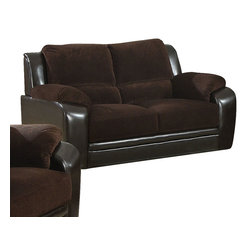 Monarch Specialties - Monarch Specialties I 8902BR Chocolate Corduroy / Brown Leather-Look Loveseat - Extremely comfortable, this love seat provides thick boxed seat cushions, pillow-top arms, and plush channel-tufted back pillows that you will love to sink into at the end of your day. The tapered legs and unique two-toned upholstery featuring a chocolate corduroy fabric on top and a sleek brown leatherette on bottom are sure to make a statement in your home. Loveseat (1)