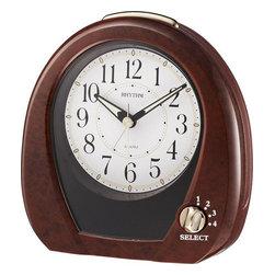 "Rhythm Clocks - 5"" Joyful Morning Musical Alarm Clock Wood - At the top of each hour, the MAGIC Begins!"