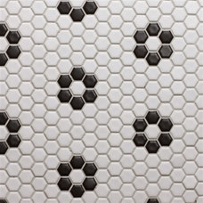 Glazed Porcelain 1 Inch Hexagon- White with Black Rose Pattern