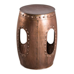 Round Rivet Barrel Stool-Copper - Product Features: