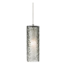 LBL Lighting - LBL Lighting Mini Rock Candy C LED Smoke 6W Fusion Jack 1 Light Mini Pendant - LBL Lighting Mini Rock Candy C LED Smoke 6W Fusion Jack 1 Light Mini PendantHandmade from start to finish, this beautiful cylindrical Smoke Fusion Jack pendant is created by talented craftspeople. Beginning with a mouth-blown transparent glass cylinder, the glass is then rolled in Smoke crystal frit, and finally flash heated to an extremely high temperature to create the unique texture on this stunning fixture. Enclosing an ultra energy-efficient LED lamp creating a soft glow from the inside, this attractive fixture will add a sense of style to any home.LBL's Fusion Jack is a versatile system that allows lighting pendants or heads to be used with a variety of systems including monopoint and multipoint Fusion Jack canopies as well as Monorail, LED Illuminated Monorail, and 2-Circuit Rail systems when used with appropriate low-voltage track adapters (canopies and adapters sold separately). Simply screw into any Fusion Jack canopy or element adapter and hand-tighten the threaded collar for easy installation.LBL Lighting Mini Rock Candy C LED Smoke 6W Fusion Jack Features: