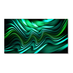 "Fabuart - ""Emerald Energy"" Green Abstract Canvas - 32W X 16 H - 1 Panel - This ""Emerald Energy""  artwork design is printed in high quality fade resistant ink on premium quality cotton canvas. This abstract design is sure to be the center piece of any room it is placed in. All of our graphic canvas prints are gallery wrapped around solid wood subframes, carefully packaged and arrive to you, ready to hang on the wall. Our printing technology allows for a crisp, deep canvas print which is never pixelated."