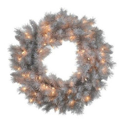 Vickerman Silver White Pre-Lit Wreath - Clear Lights - Welcome the season with the Vickerman Silver White Pre-Lit Wreath - Clear Lights. This wreath features a classic design with an unusual soft silver color. The silver is accented by clear mini lights to bring a bit of cheer to your space. Add ornaments to coordinate with your decor or just hang it and admire the subtle beauty.About VickermanThis product is proudly made by Vickerman, a leader in high quality holiday decor. Founded in 1940, the Vickerman Company has established itself as an innovative company dedicated to exceeding the expectations of their customers. With a wide variety of remarkably realistic looking foliage, greenery and beautiful trees, Vickerman is a name you can trust for helping you create beloved holiday memories year after year.