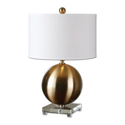 Silver Nest - Brass Glove Table Lamp - Brushed brass plated metal accented with a thick crystal foot. The round hardback drum shade is an off white linen fabric.