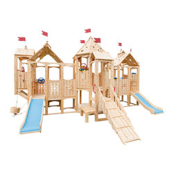 "CedarWorks - CedarWorks Frolic 15 Swingset - My children are small so I was hoping for something with a lower deck height, do you have that? Frolic sure does. Our Frolic 15 ""Casa Dei Bambini"" has a wide array of our most popular deck 3 accessories. These are perfect for those adventuresome toddlers in your home and when they get older and are ready for some taller accessories. Frolic is an all natural splinter free playset manufactured right here in Maine."