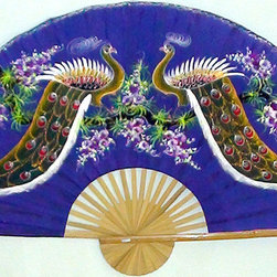 Oriental-Décor - Proud Peacocks Decorative Fan - Be proud as a peacock of your decorating savvy for choosing this delightful decorative fan. Featuring two hand-painted peacocks on rayon canvas with a bamboo frame, this Asian accent piece will make a welcome addition to your Eastern-themed or eclectic room.