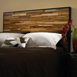 Padmas Plantation - Reclaimed Wood Panel Headboard - Made of blocks of scrap wood of varying sizes and thicknesses, this headboard has a rich variation in natural wood grain in a dark-stained frame. Features: -Teak wood construction.-Natural finish.-Headboard Gallery collection.-Distressed: No.
