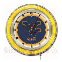 Holland Bar Stool - Holland Bar Stool Clk19WestVA West Virginia 19 Inch Neon Clock - Clk19WestVA West Virginia 19 Inch Neon Clock belongs to College Collection by Holland Bar Stool Our neon-accented Logo Clocks are the perfect way to show your school pride. Chrome casing and a team specific neon ring accent a custom printed clock face, lit up by an brilliant white, inner neon ring. Neon ring is easily turned on and off with a pull chain on the bottom of the clock, saving you the hassle of plugging it in and unplugging it. Accurate quartz movement is powered by a single, AA battery (not included). Whether purchasing as a gift for a recent grad, sports superfan, or for yourself, you can take satisfaction knowing you're buying a clock that is proudly made by the Holland Bar Stool Company, Holland, MI. Clock (1)