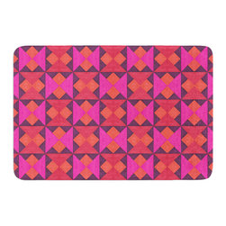 """KESS InHouse - Empire Ruhl """"A Quilt Pattern"""" Pink Red Memory Foam Bath Mat (24"""" x 36"""") - These super absorbent bath mats will add comfort and style to your bathroom. These memory foam mats will feel like you are in a spa every time you step out of the shower. Available in two sizes, 17"""" x 24"""" and 24"""" x 36"""", with a .5"""" thickness and non skid backing, these will fit every style of bathroom. Add comfort like never before in front of your vanity, sink, bathtub, shower or even laundry room. Machine wash cold, gentle cycle, tumble dry low or lay flat to dry. Printed on single side."""