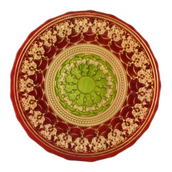 "Traders and Company - Hand-Painted Red, Gold & Green Embossed Glass Dinner Plate,  11""D - Rococo - Inspired by the decorative style of the bejeweled mosaics of Byzantine.  These rich colored plates and bowls have been adapted to express the mystic character of the Byzantium Empire. Alternate shapes & styles sold separately. Hand wash only; not for use in dishwasher, microwave, or oven."