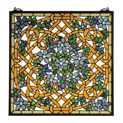 Meyda Tiffany - Meyda Tiffany Meyda Originals Window Sill Tiffany Window Art in Copperfoil - Shown in picture: Shamrock Garden Stained Glass Window; A Flourish Of Green And Brown Opalescent Glass Shamrocks Highlight The Trellis In This Lovely Stained Glass Window.' Individual Pieces Of Art Glass Are Wrapped In Copperfoil And Placed By Hand Into This Spectacular Pattern.