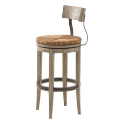 Lexington - Lexington Twilight Bay Dalton Bar Stool - The Dalton Bar Stool will bring beautiful, unfussy elegance to your home decor. The Dalton Bar Stool takes on a rustic and worldly flair. The concave back and serpentine vertical supports on the bar stool lend a softness to the silhouette that is enhanced by the round shape of the hand-woven rush swivel seats. The weathered Driftwood finish highlights the use of metal on the back of the stool and kick plate.