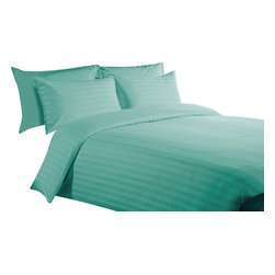 """600 TC 15"""" Deep Pocket Sheet Set with Duvet Set Striped Aqua Blue, Cal-Queen - You are buying 1 Flat Sheet (90 x 102 inches), 1 Fitted Sheet (60 x 84 inches), 1 Duvet Cover (88 x 88 Inches) and 4 Standard Size Pillowcases (20 x 30 inches) only."""