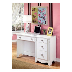 Signature Design by Ashley - Traditional Youth Desk w Rosette Details & Wh - Color/Finish: Luminous White. This French styled youth collection has a luminous white finish. The drawers are framed with a decorative emboss. The hardware is a satin nickel color and acrylic accentuated with detail. Ample shape can be found throughout in the valances, crowns, base strips and more. Appliques and rosettes provide additional detail. 46 in. W x 16 in. D x 30 in. H