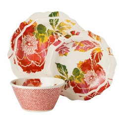Threshold 12-Piece Scallop Floral Dinnerware Set, Coral - Eat in style with this pretty flower dinnerware set from Target's Threshold collection. And it's made of melamine, so it's more casual and can be used around kiddos or for outdoor dining.
