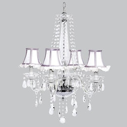Belle & June - White Ruffle & Lavender 4 Light Middleton Chandelier - This strikingly elegant 4 light Middleton chandelier features white ruffled shades, lavender trim and hanging crystals throughout. We can't think of anything more charming than hanging this in a little girl's bedroom or nursery.