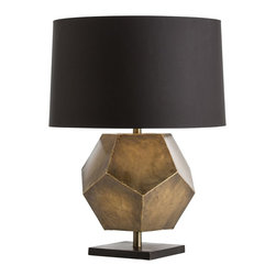 Arteriors - Drea Lamp, Antique Brass - Heavy gauge sheet iron has been hand cut into pentagons then welded together with brass to crate this geometric shape. It appears to float between the square black iron base and the taupe sheer fabric shade. The shade is lined in a dark silver microfiber fabric. The antique brass version has a black microfiber shade with white cotton lining balancing the square matte black iron base. Takes one 150 watt three-way bulb.