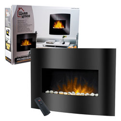 Trademark Home - Warm House Black Arched Glass Electric Fireplace - Stay warm and cozy all winter when you snuggle in front of this glass panel electric fireplace. The fireplace is mounted onto a wall with the included hardware, and features and adjustable flame brightness and a motor which blows heat from the unit.