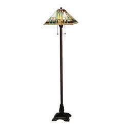 """Meyda Tiffany - Meyda 62""""H Prairie Peaks Floor Lamp - This stunning Mission style lamp features a pyramid-shaped shade with a geometric design in straight-line tribal motifs of Bone Beige, Aqua Blue and Red, which is trimmed with Bark Brown and Honey glass. The shade was created with authentic stained-glass using Meyda Tiffany's famous copper foil construction process and is complemented with a base finished in Mahogany Bronze."""