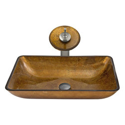 Vigo - Rectangular Copper Glass Sink and Waterfall Faucet Set in Brushed Nickel - The VIGO rectangular copper glass vessel sink and waterfall faucet set will bring a modern elegance to your bathroom.