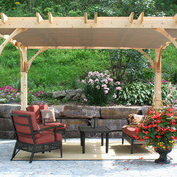 Pergola Kit 10x12 with retractable canopy - 10x12 Cedar Pergola with retractable canopy.  A DIY-Kit made with 100% Western Red Cedar grown in North America!