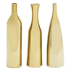 "Benzara - Hawaiian Artistic Styled Ceramic Vase 3 Assorted - Bring home fascinating 3 assorted ceramic vases that will add charm to your room space. This ceramic vase comes in a set of three each feature glassy brown color finish with smooth texture. This ceramic vase can be added to your living space or just kept on a table top, side tables else similar other set ups.Natives paying a visit over your place will be surprised to check out this magnificent assorted ceramic vase. They'll be enticed to add one to their interiors. Besides, this assorted ceramic vase can also be gifted to your near and dear ones to surprise them immensely. Get this ceramic vase right away. Attractive Ceramic Vase 3 Assorted measures 4 inches (W) x4 inches (L) x12 inches (H), 3 inches (W) x3 inches (L) x12 (H), 3 inches (W) x3 inches (L) x 12 inches (H); Glassy brown color finish; Smooth finish; Dimensions: 25""L x 5""W x 15""H"