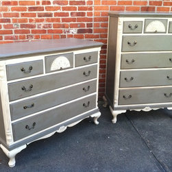 Custom Painted Dressers -French Grey & Antique White - Sold. Similar available in our current inventory of antique furniture. Email us at kingstonkrafts@gmail.com to receive photos of similar antique inventory. Or call 401-516-7711 to schedule a visit in our Providence, RI studio.