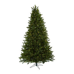 Nearly Natural - 90 in. Rembrandt Christmas Tree - Includes six hundred and fifty clear lights. Metal base. Perfect for holiday season. Trunk type: Artificial-non-bendable. Number of leaves: One thousand seven hundred thirty five tips. Made from silk. Green color. Base: 21 in. Dia. x 6.5 in. H. Overall: 55 in. Dia. x 90 in. HThis classic Christmas tree is perfect for your holiday decorating needs. Its guaranteed to fill your home or office with Christmas spirit, season after season.