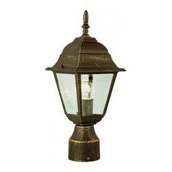 Joshua Marshal - One Light Rust Clear Beveled Square Glass Post Light - One Light Rust Clear Beveled Square Glass Post Light