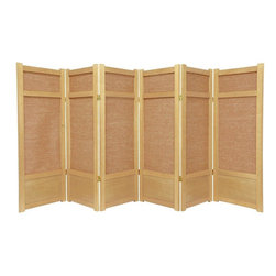 Oriental Furniture - 4 ft. Tall Low Jute Shoji Screen - 6 Panel - Natural - The low height is perfect for hiding unsightly areas, fireplaces, kid's play areas, or simply for adding a new design element to your space. The tightly woven Jute panels offer a unique variation of the traditional rice paper screen.