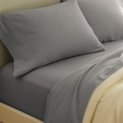 Garnet Hill - Garnet Hill Paintbrush Cotton Flannel Sheets - California King - Fitted - Heathe - This cotton flannel bedding is featured in modern colors designed to mix and match. This flannel bedding is made in Portugal of pure cotton that's brushed on both sides for softness. Fitted sheet is fully elasticized for a better fit. Pocket depth 12 inches.