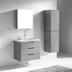 "Madeli - Madeli Bolano 30"" Bathroom Vanity - Ash Grey - Madeli brings together a team with 25 years of combined experience, the newest production technologies, and reliable availability of it's products. Featuring sleek sophisticated lines Madeli vanities are also created with contemporary finishes and materials. Some vanities also feature Blum soft-close hardware. Madeli also includes a Limited 1 Year Warranty on Glass Vessels, Basin, and Counter Tops. Features Wall Mounted Three Drawer Vanity Walnut finish Wood Countertop requires cut out by on-site installer. White or Biscuit Porcelain Basin with overflow for a single-hole faucetFaucet and drain are not included Matching mirror or medicine cabinet availableLimited 1 Year Warranty on Glass Vessels, Basin, and Counter Tops How to handle your counter Spec Sheet for X-Stone Top Spec Sheet - Ceramic, Glass Tops"