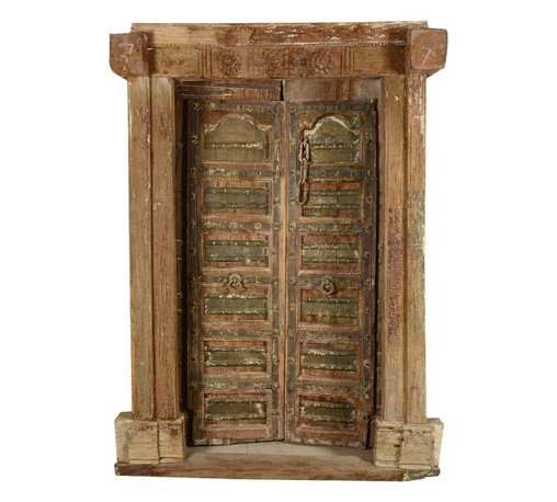 Sierra Living Concepts - Salvage Teak Wood Hand Crafted Door & Frame - Indian antique style doors are extremely strong, long lasting and secure. They can withstand any climate because they are naturally seasoned by the sun. They will not crack, split or soften so it's not only a very unique style but it is unsurpassable as a security door.