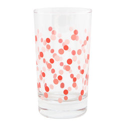 Pink Dots Party Glass - Confetti polka dots would spice up your bar cart for spring.