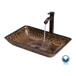 Vigo - VIGO Rectangular Golden Greek Glass Vessel Sink and Faucet Set in Oil Rubbed Bro - The VIGO Rectangular Golden Greek glass vessel sink and faucet set will become like an elegant piece of art in your home