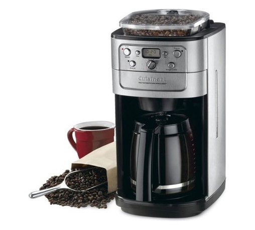 Cuisinart - Grind and Brew 12 Cup Automatic Coffee Maker - This fully programmable Coffee Maker has a burr grinder for superior coffee. The special burr grinder grinds coffee without influencing the integrity of the bean, so the true flavor is maintained. The sealable bean hopper holds up to a half-pound of beans, and the strength selector and grind control functions fine-tune intensity and volume. It's never been easier to make a great pot of coffee! Features: -8 oz.bean hopper with sealed lid to prevent moisture.-Burr grinder automatically grinds beans before brewing.-Strength selector - choose coffee strength: strong, medium or mild.-Grind control program the amount of coffee you want to grind: choose from 2 to 12 cups.-Gold tone commercial style permanent filter.-Charcoal water filter removes impurities.-24-hour fully programmable.-12-cup (5 ounces each) capacity.-Adjustable auto-shutoff (0-4 hours).-Grind-off feature.-2 to 4 cup feature integrated into unit.-Chrome Appliances finish.-Brew Pause feature lets you enjoy a cup before brewing is finished.-Black Appliances collection.-Collection: Chrome Appliances.-Distressed: No.Dimensions: -15'' H x 7.75'' W x 7.5'' D, 10 lbs.-Overall Product Weight: 10 lbs.Warranty: -Limited 3-year Warranty.