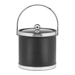 Kraftware - Sophisticates 3-qt. Ice Bucket in Black - Bucket with Metal cover and polished chrome bands. Made in USA. 9 in. Dia. x 9 in. H (3 lbs.)Classic Black Leatherette Elegance. Always as appropriate as a formal tuxedo at a reception. You can't go wrong with Sophisticates.