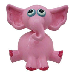 Adorable Bobble Head Pink Elephant Money Bank Piggy - This adorable cold cast resin bobble head pink elephant figurine doubles as a piggy bank. The elephant measures 5 inches tall, 4 1/4 inches wide and 4 1/4 inches deep. The bank empties via a twist off plastic piece on the bottom. He is hand-painted, and makes a great gift for elephant fans.