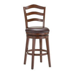 Hillsdale Furniture - Swivel Stool (30 in. Bar Height) - Choose Size: 30 in. Bar HeightArched ladder back designRich brown cherry finish 360 degree swivel. 17 in. W x 23 in. D x 44 in. H (31 lbs.)A charming and traditional stool, Hillsdale's Windsor is a classic. The arched ladder back design is complemented by the rich brown cherry finish. It also boasts an easy to clean brown vinyl seat.