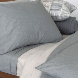 Area - Heather Grey Duvet Cover - Grey melange ring spun yarns woven into a very soft cotton percale. Mini flange on these adds a nice detail.