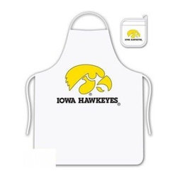 Sports Coverage - Iowa Hawkeyes Tailgate Apron and Mitt Set - Set includes your favorite collegiate Iowa University Hawkeyes screen printed logo apron and insulated cooking mitt. White apron with white silver backed mitt. Both items are logoed. Tailgate Kit apron and mit is 100% cotton twill with screenprinted logo.