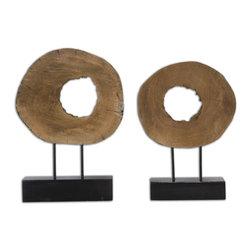 Ashlea Wooden Sculptures S/2 - Natural Mango Wood Logs On Matte Black Bases.